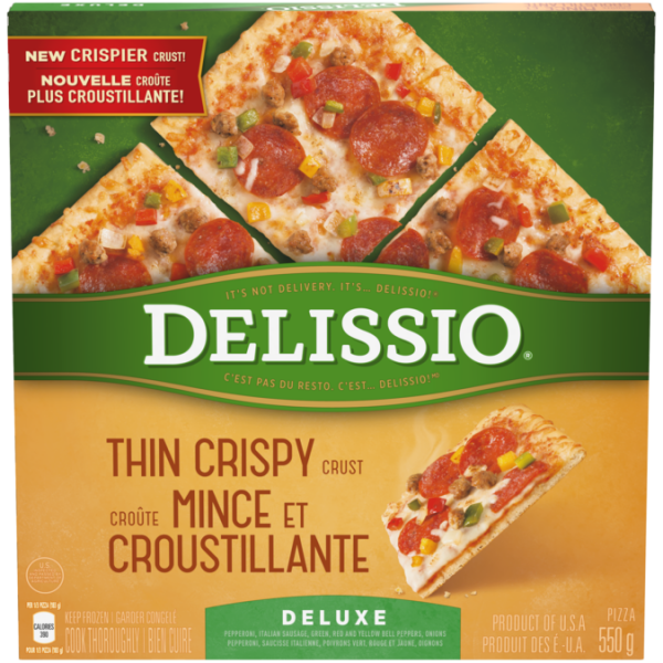 DELISSIO Thin Crispy Crust Deluxe Pizza, 630 grams.