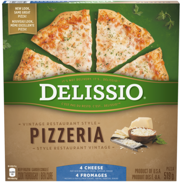 DELISSIO Pizzeria Vintage 4 Cheese Pizza, 519 grams.