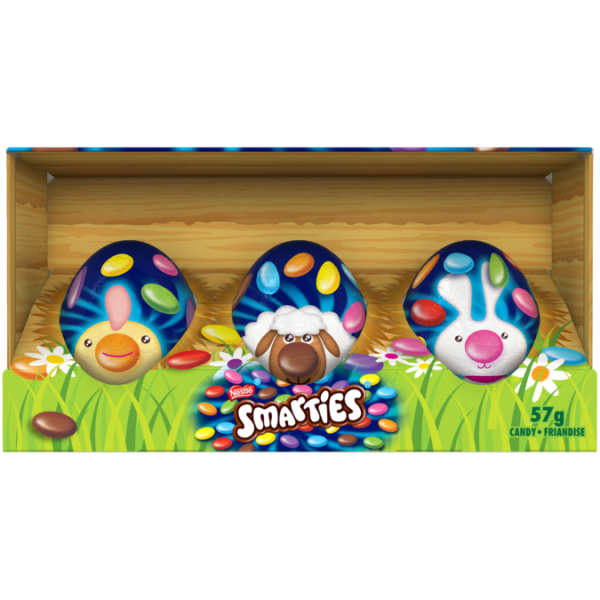 SMARTIES Eggs, pack of 3. Hollow, chocolatey egg full of classic SMARTIES milk chocolate perfect for Easter fun.