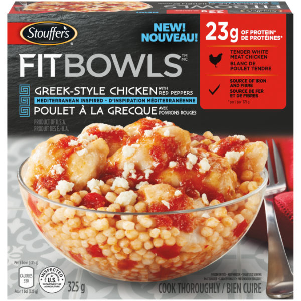 STOUFFER'S Fit Bowls, Greek-Style Chicken with Red Peppers, 320 grams.