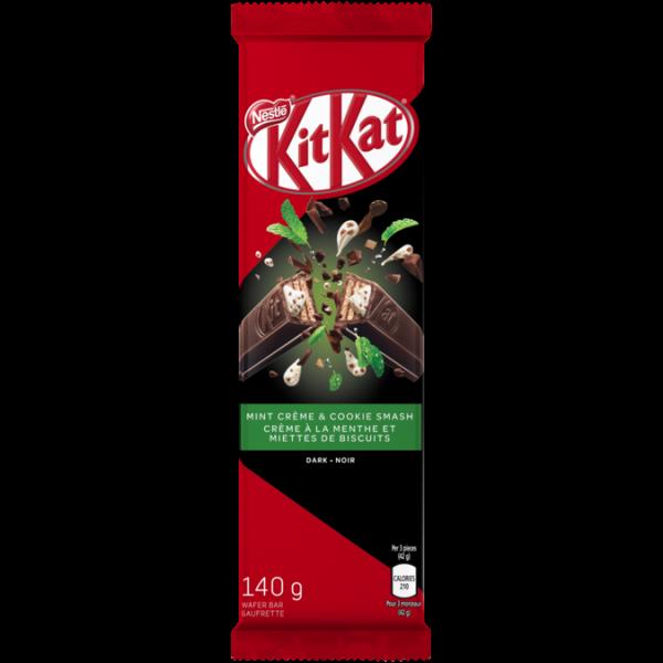 KIT KAT Mint Crème & Cookie Smash Chocolate Bar, 140 grams.