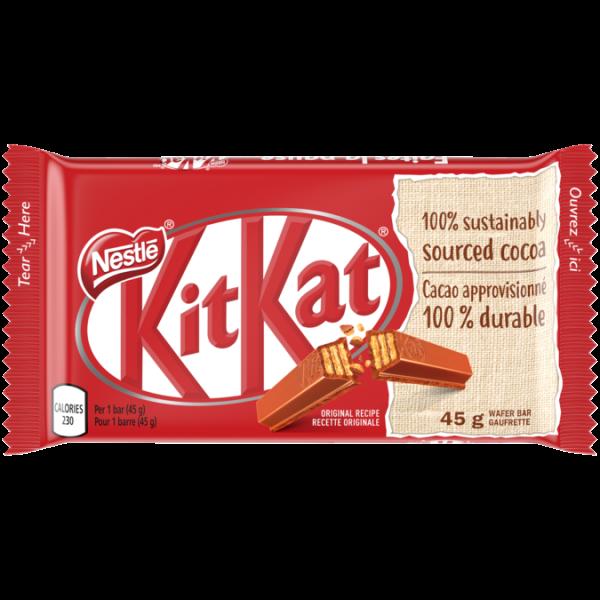 KIT KAT Milk Chocolate Bar, 45 grams.