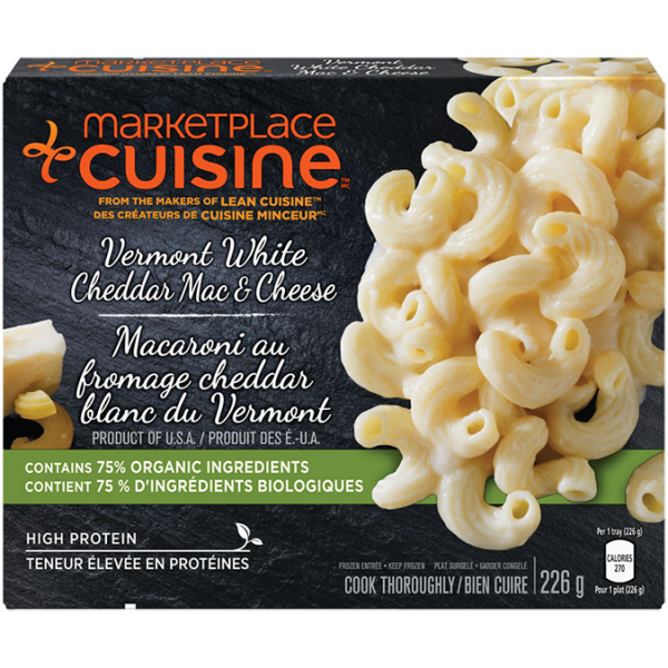 MARKETPLACE CUISINE Vermont White Cheddar Mac & Cheese, 226 grams.