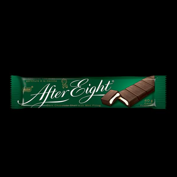 APRÈS HUIT COQUILLES de chocolat noir à la menthe, 40 grammes.