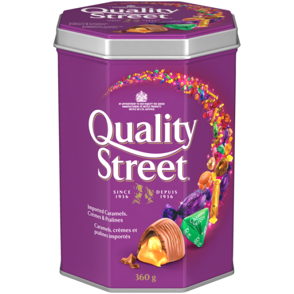 QUALITY STREET Celebration Tin, 360 grams. Assortment of caramels, crèmes, and chocolate pralines.