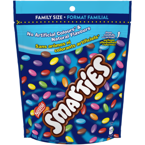 SMARTIES candy-coated milk chocolate, Resealable Bag, 400 grams.