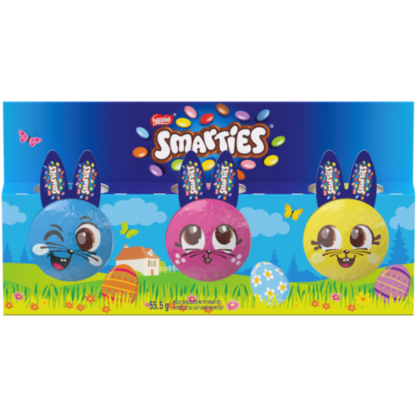 SMARTIES Easter Mini Chocolate Bunnies, 3 pack, 55 grams.