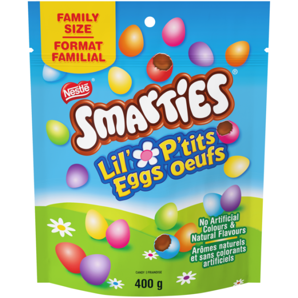 SMARTIES Candy-coated Milk Chocolatey Lil' Eggs Family Size, 400 grams.