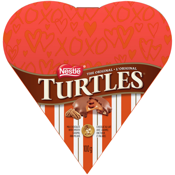 TURTLES Classic Recipe Valentine's Heart Gift Box, 100 grams.
