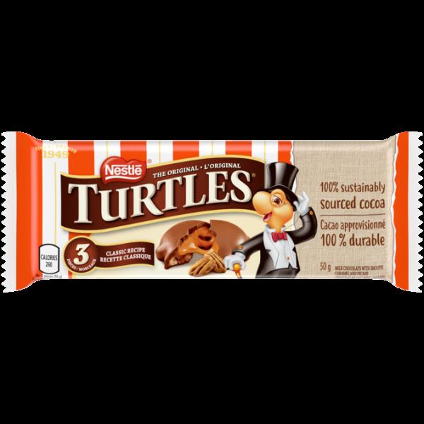 TURTLES, tablette de chocolat 3 pièces, 50 grammes.