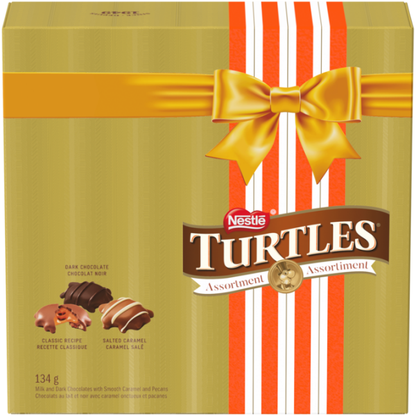 TURTLES Assortment Box 134g. Contains dark chocolate, classic recipe and salted caramel flavours.