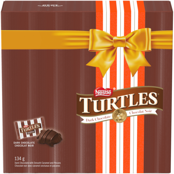 TURTLES Dark Chocolate Holiday Gift Box, 134 grams.
