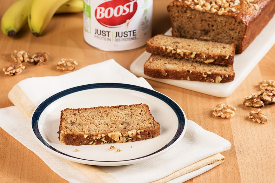 BOOST Just Protein Banana Crunch Loaf Recipe. Banana walnut bread with protein powder.