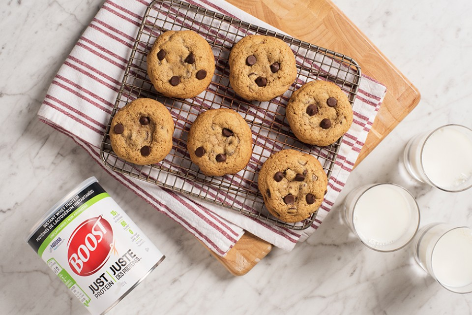 BOOST Just Protein Chocolate Chip Cookies recipe. Delicious way to add proteins to you day!