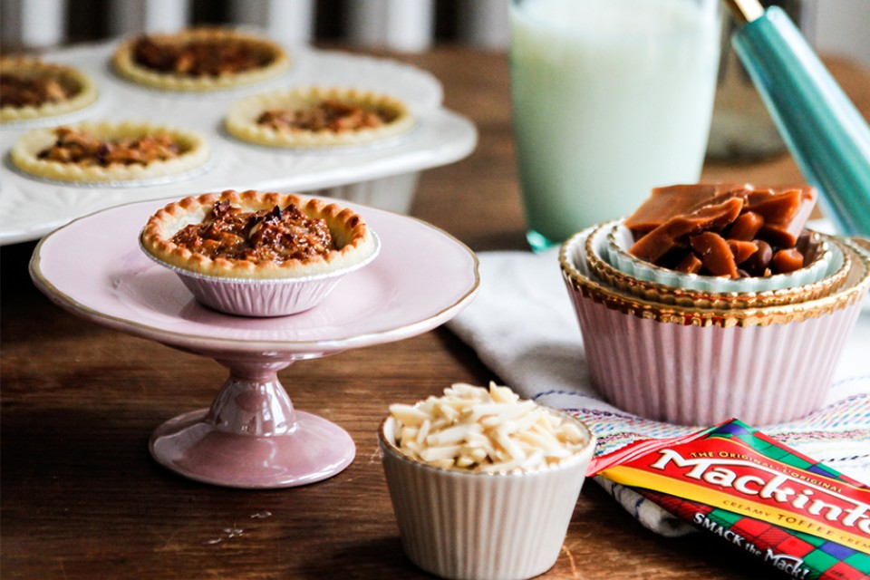 MACK Toffee Mini Tarts Recipe. Delectable clusters of nuts under a sweet toffee glaze.