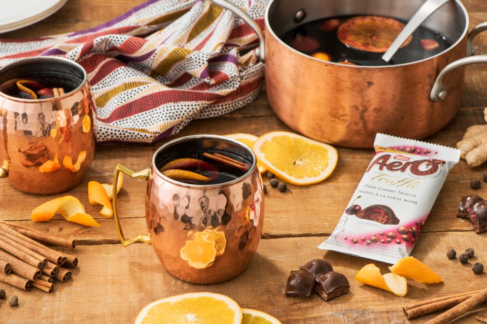 Warm Spiced Cherry Mulled Wine recipe made with AERO Dark Cherry Truffle. For a special treat on a cold night.