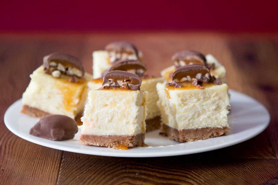 TURTLES Cheesecake recipe. A delectable vanilla cheesecake topped with mini chocolate TURTLES.