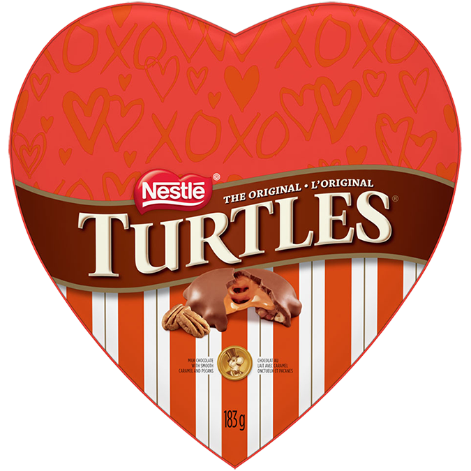 TURTLES Heart. Silky smooth caramel and crunchy pecans draped in rich, creamy chocolate. 183 grams.