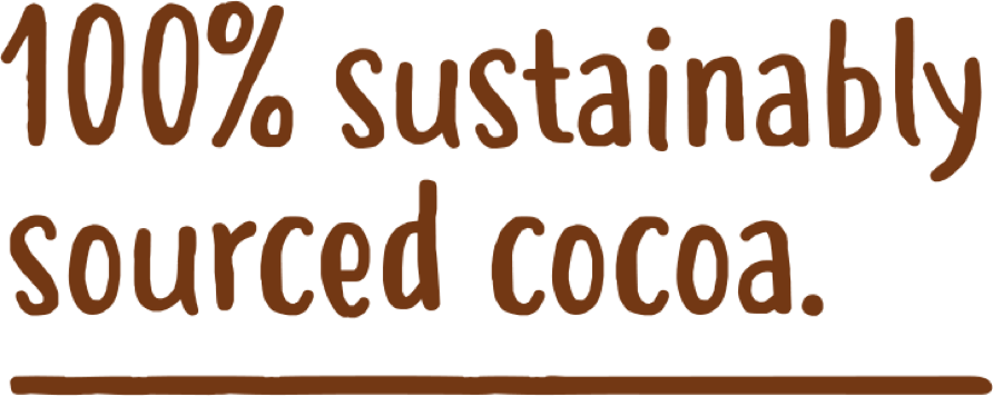 100% Sustainably sourced cocoa.